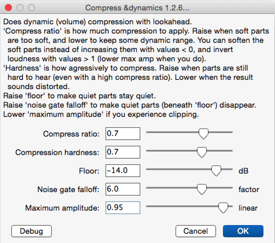 My settings for Chris's Dynamic Compressor