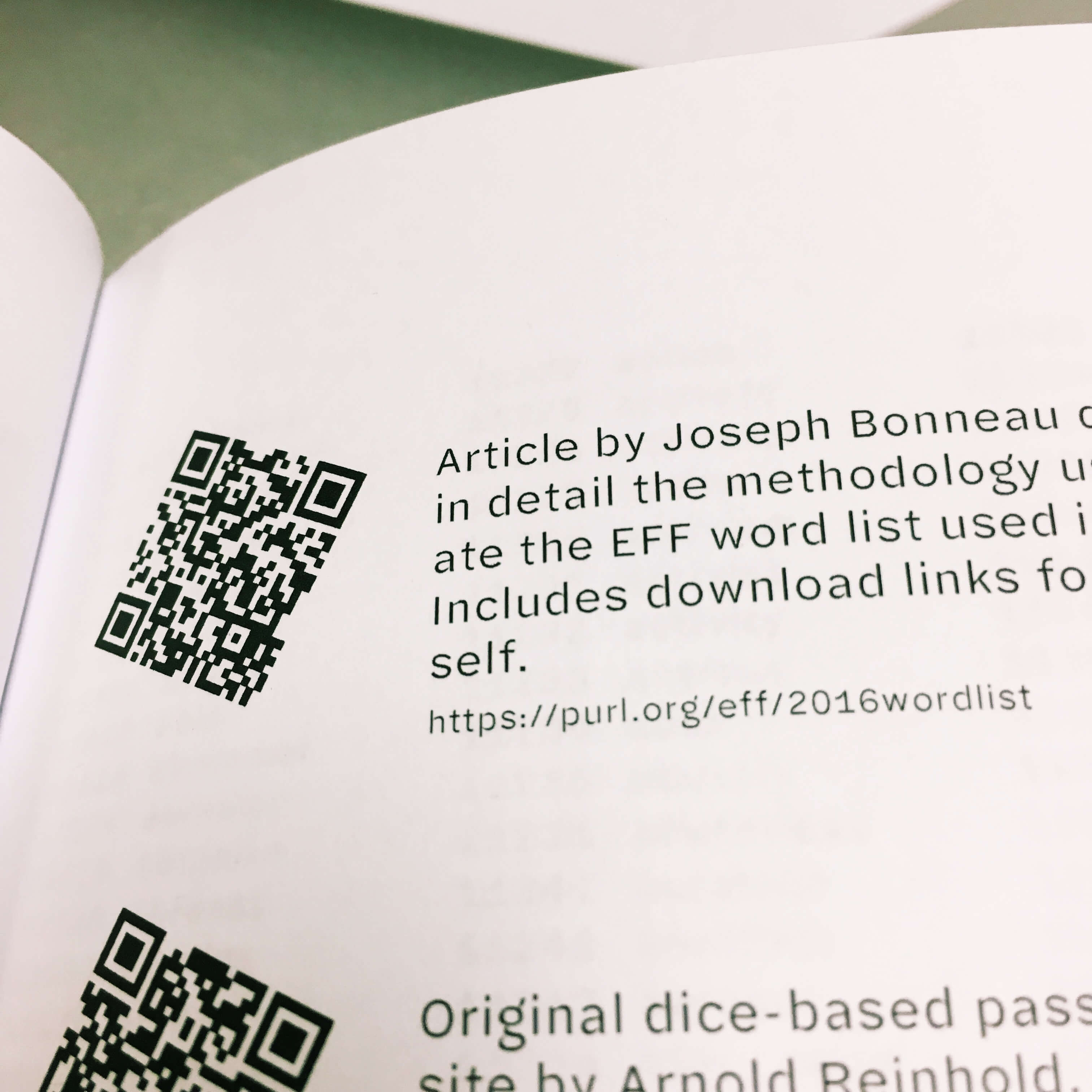 Page of QR codes from the first version of the book