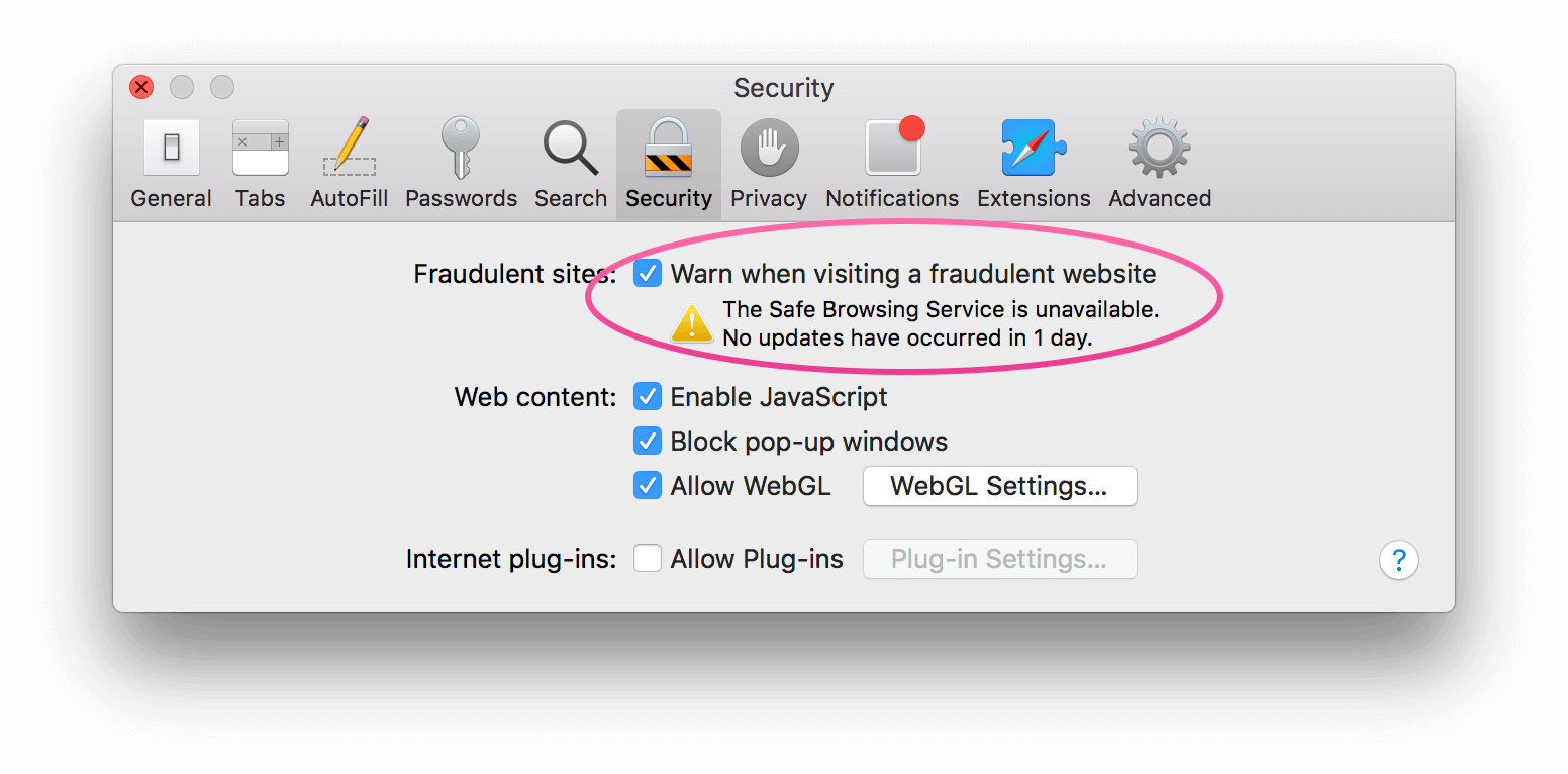 Safari preferences pane showing a problem with the 'Safe Browsing Service'